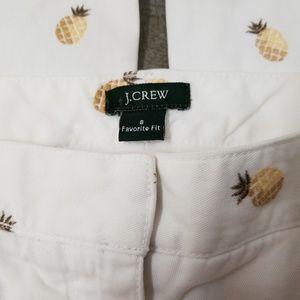J. CREW SIZE 8 WHITE PINEAPPLE'S CAPRI PANTS